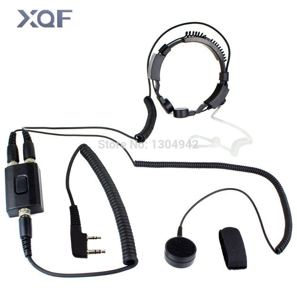 Professional Military Police FBI Throat Microphone Covert Acoustic Tube Earpiece Headset 2pin for KENWOOD Radio baofeng BF UV-5R
