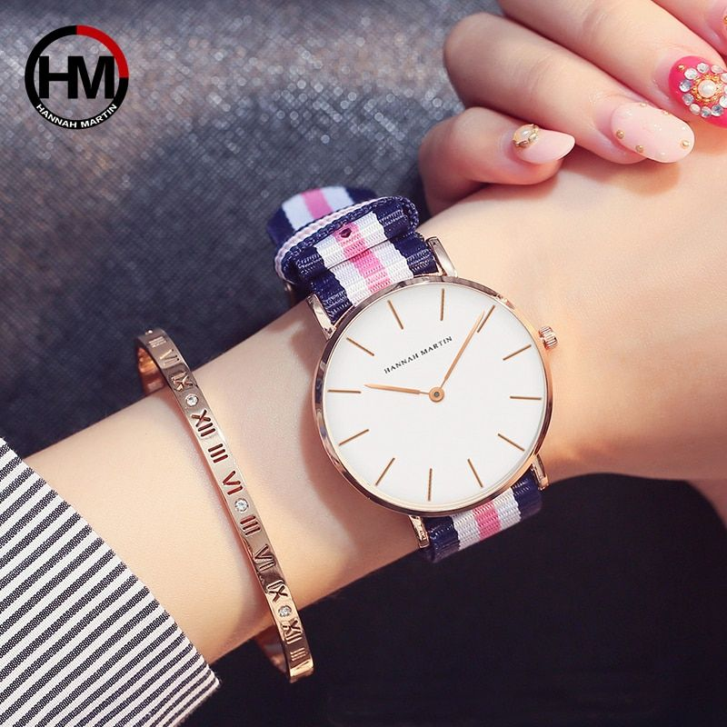 Japan Quartz Movement Fashion Girl Student Casual Young Ladies Watches Nylon Strap Wristwatches Brand Waterproof For Women 2018