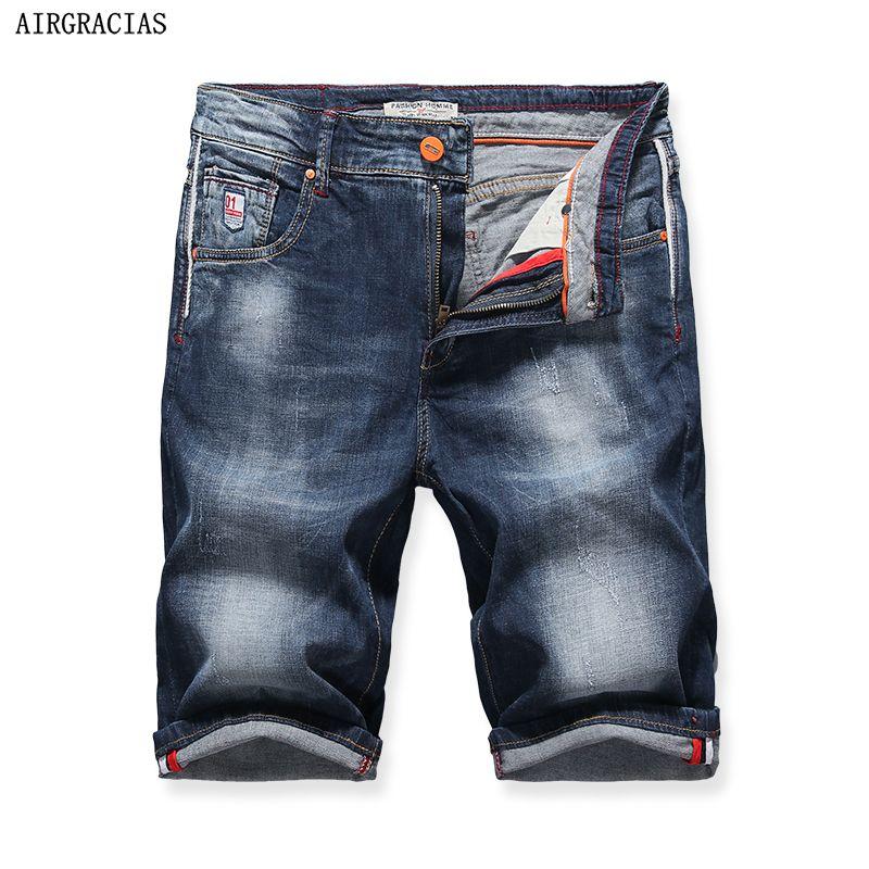 AIRGRACIAS Shorts Hommes Bleu Jeans Courts Droite Rétro Shorts Jean Bermudes Homme Denim Marque Vêtements Plus La Taille 28-40X323