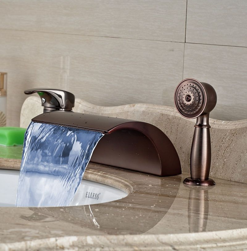 Oil Rubbed Broze W/Hand Shower Faucet LED Waterfall Spout Bathtub Tap Hot&Cold Faucet Bathroom Tap