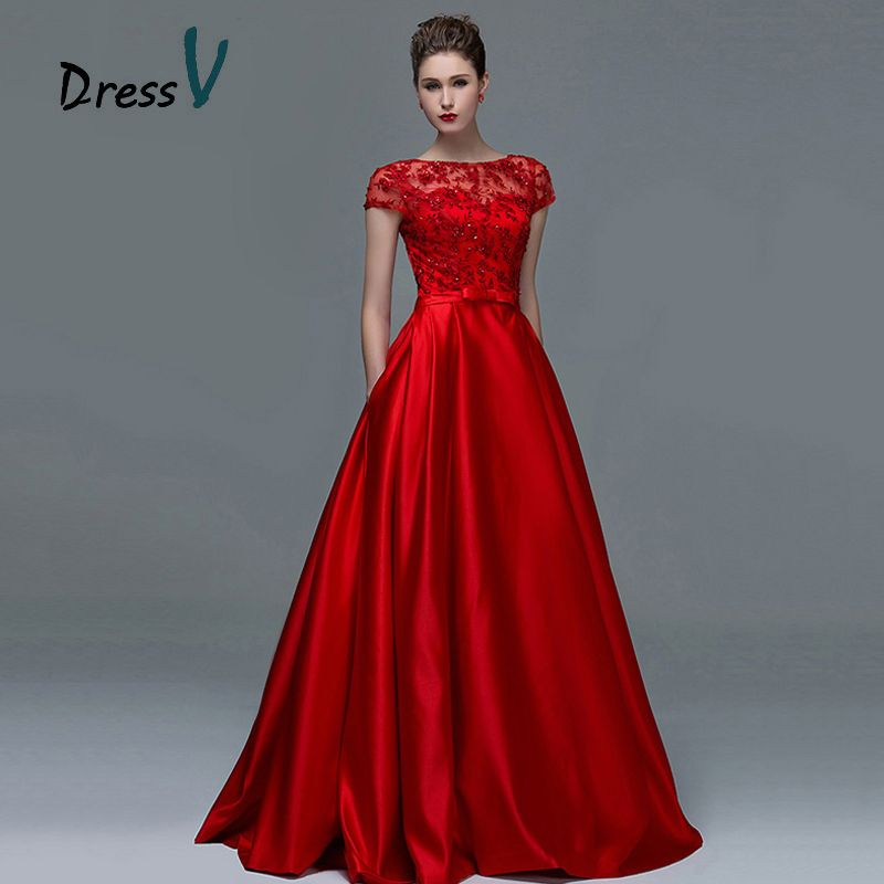 Dressv Elegant Red Lace Short Sleeves Evening Dresses 2017 Sexy A-Line Boat Neck Keyhole Long Women Formal evening dress gowns