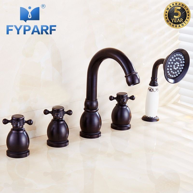FYPARF Bath Shower Faucets Set Oil Rubbed Bronze Brass Bathtub Faucet Deck Mounted Bathtub Mixer Faucet Handheld Shower Bath Tap