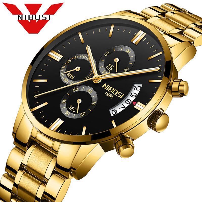 Luxury Brand NIBOSI Men Sport Watch Waterproof Casual Watch Quartz Military Leather Steel Men's Wristwatches Relogio Masculino