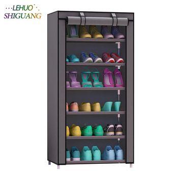 Armoire à chaussures 7-couche 6-grid Non-tissé tissus grande étagère à chaussures organisateur amovible de stockage de chaussures pour la maison meubles