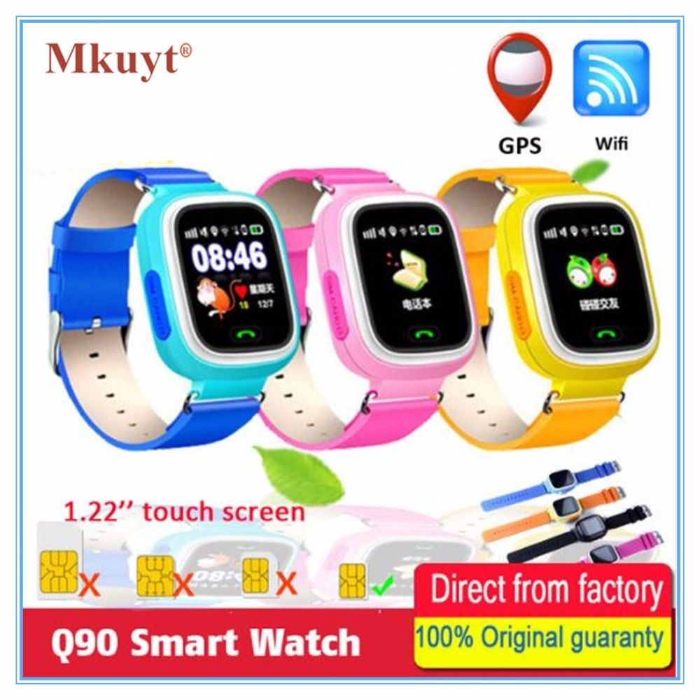 MKUYT Q90 GPS Phone Positioning Children Kids Smart Watch 1.22 Inch Color Touch Screen with WIFI SOS WristWatch PK Q80 Q50 Q60
