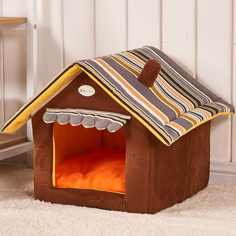 New Fashion Striped Removable Cover Mat Dog House Dog Beds For Small Medium Dogs Pet Products House Pet Beds for Cat