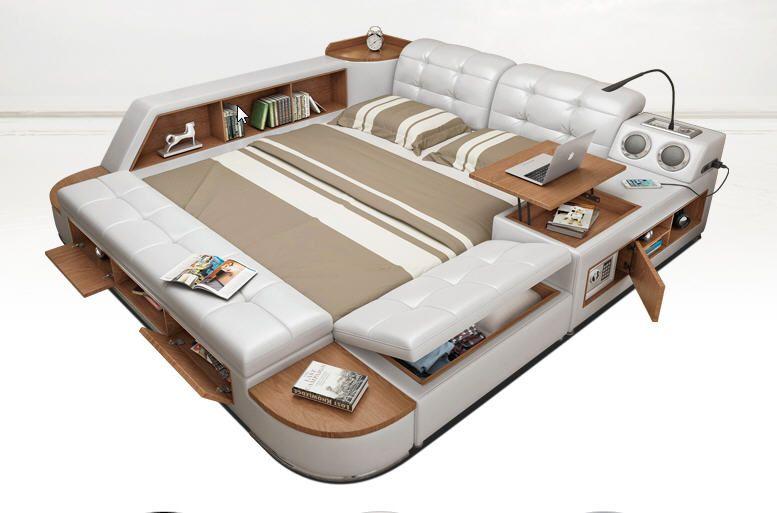 Post moderne echt echtem leder bett/weichen bett/doppelbett king/queen-size schlafzimmer wohnmöbel mit aufbewahrungsbox und sideboard