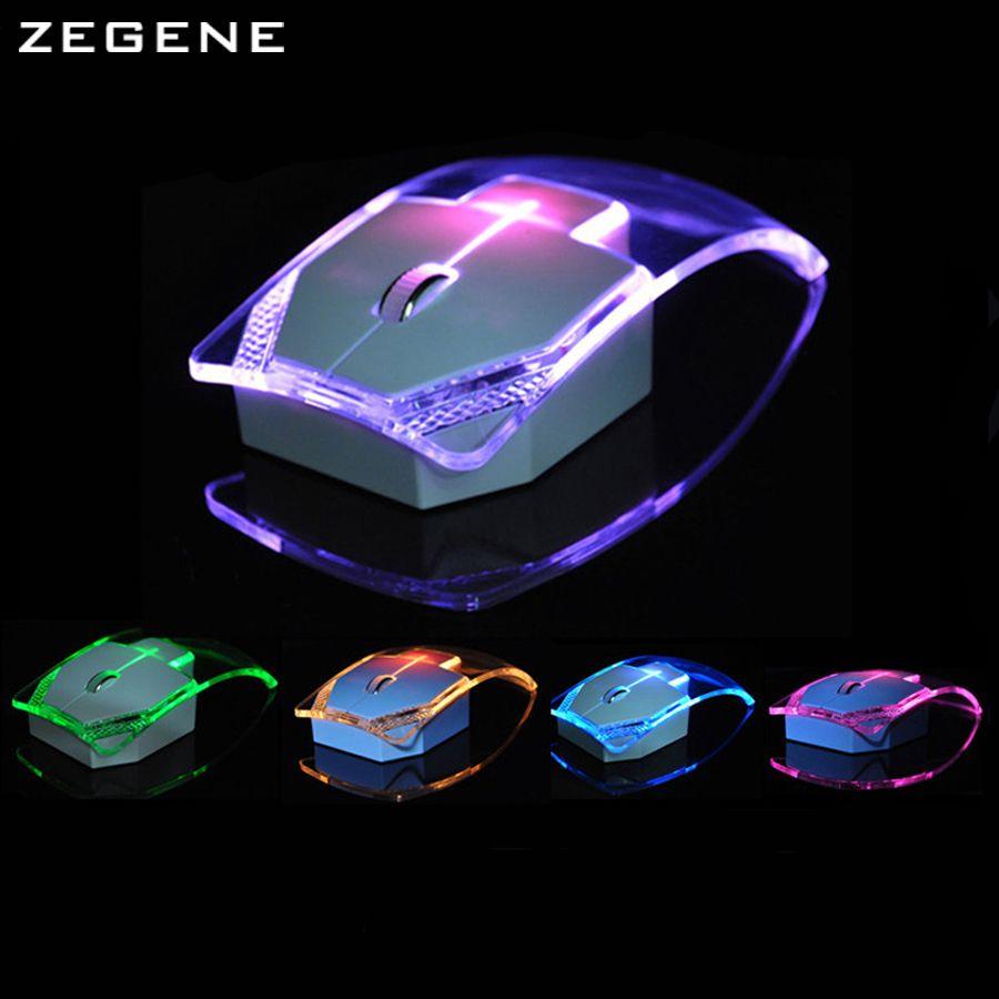 Nouveau Mode Transparent Sans Fil Souris Silencieux Gamer Coloré LED D'économie D'énergie Glow Gaming Souris Souris pour Ordinateur Portable De Bureau