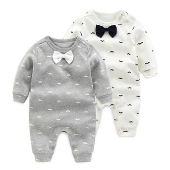 2018 printemps-Automne bébé garçon vêtements Coton À Manches Longues bébé garçon vêtements, bande dessinée Barbe Gentleman bébé barboteuse Infantil bébés