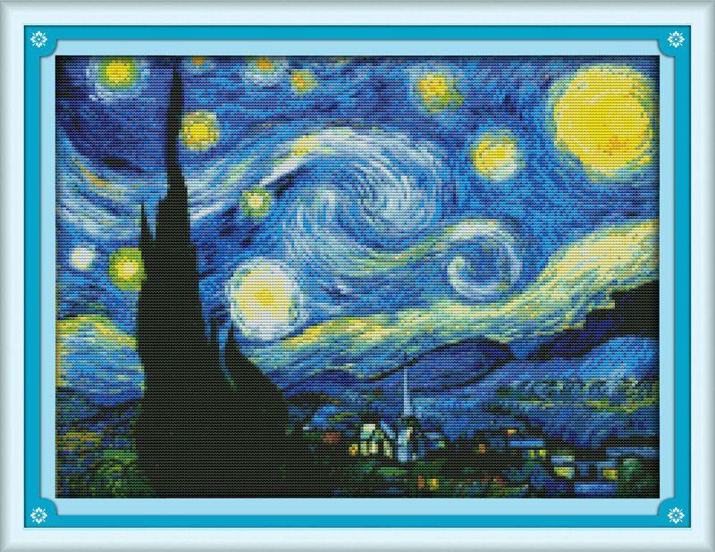 La Nuit Étoilée de Van Gogh Imprimé Toile DMC Compté Chinois Point De Croix Kits imprimé Croix point de croix set Broderie couture