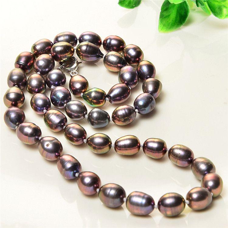 Collier de perles d'eau douce brun perle naturelle 7-8mm collier de perles courtes rondes irrégulières baroques identification professionnelle