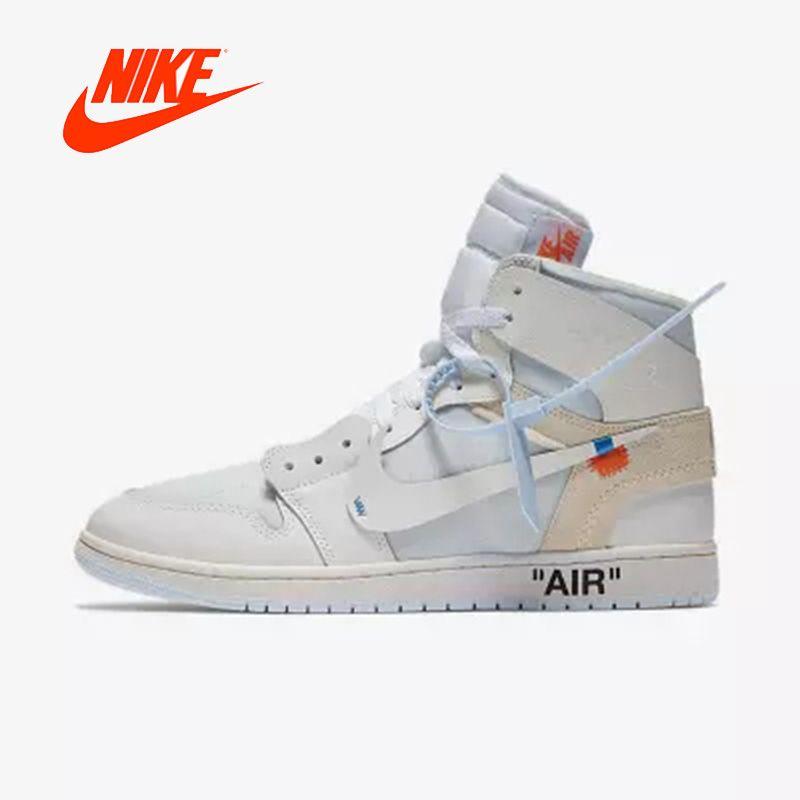 Offizielle Original Nike Air Jordan 1 AJ1 OW Off White männer basketball schuhe Outdoor sport AQ0818-100