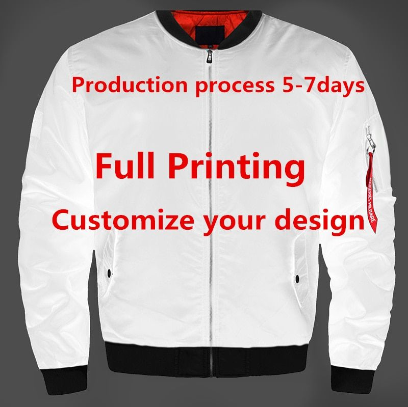 Drop Shipping USA Size Customized Full Printing Designs Thick Bomber Jacket U Streetwear Flight MA-1 Jacket Custom Made Coat