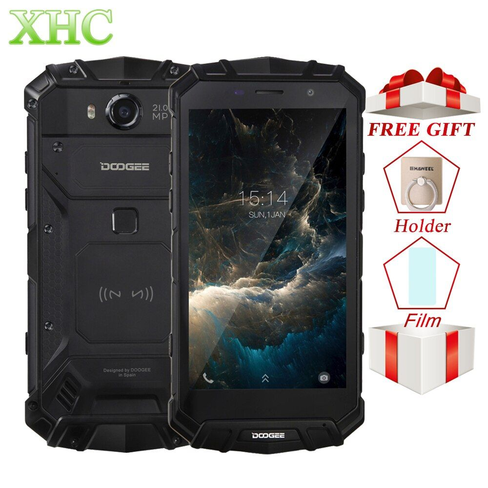 IP68 DOOGEE S60 Wireless Charge 5580mAh Mobile Phone Helio P25 Octa Core <font><b>1920</b></font>*1080 FHD Smartphone 21MP Camera 6GB+64GB Cellphone