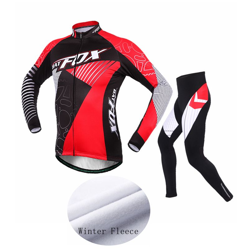 BATFOX Winter Cycling Clothing Long Sleeve Fleece Cycling Jersey Set Men Sport Warm MTB Road Cycling Set Maillot Ropa Ciclismo