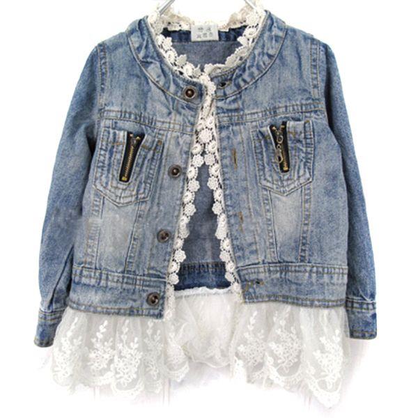 Джинсовые куртки для девочек; кружевное пальто с длинными рукавами и пуговицами для детей; джинсовая куртка для девочек 2–7 лет