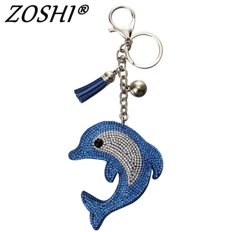 Heißer Ziemlich Chic Blau delphin leder tassle Schlüsselanhänger Kristall Tasche Anhänger Schlüssel ring Schlüssel ketten Weihnachten Geschenk Schmuck Llaveros