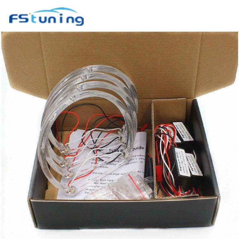 FStuning CCFL Angel Eyes Headlight Kit For BMW 3Series E46 Coupe/Sedan 5W White Yellow 131mm led halo rings angel eyes for BMW
