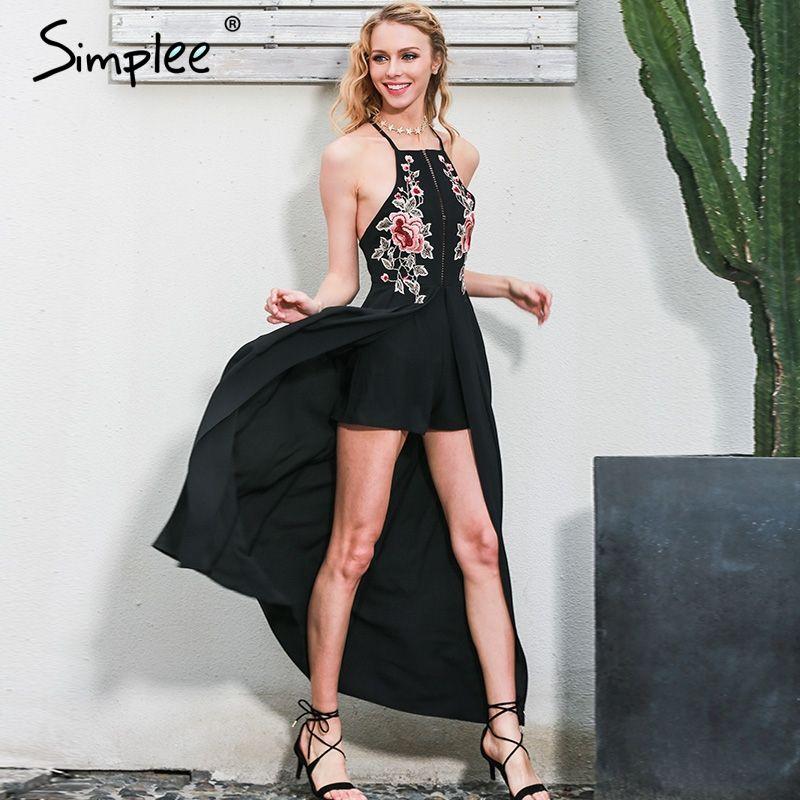 Simplee Elegant bodysuit women jumpsuit romper Backless embroidery combishort femme playsuit summer overalls leotard