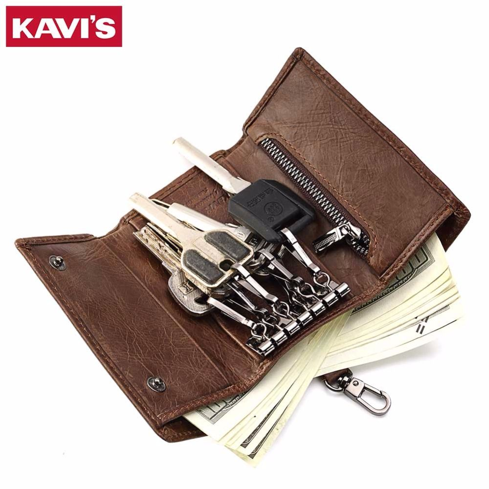 KAVIS Genuine Cow Leather Housekeeper Key Wallet Men Ring Holder Organizer Small and Pocket Keychain Zipper Organizer Male Purse