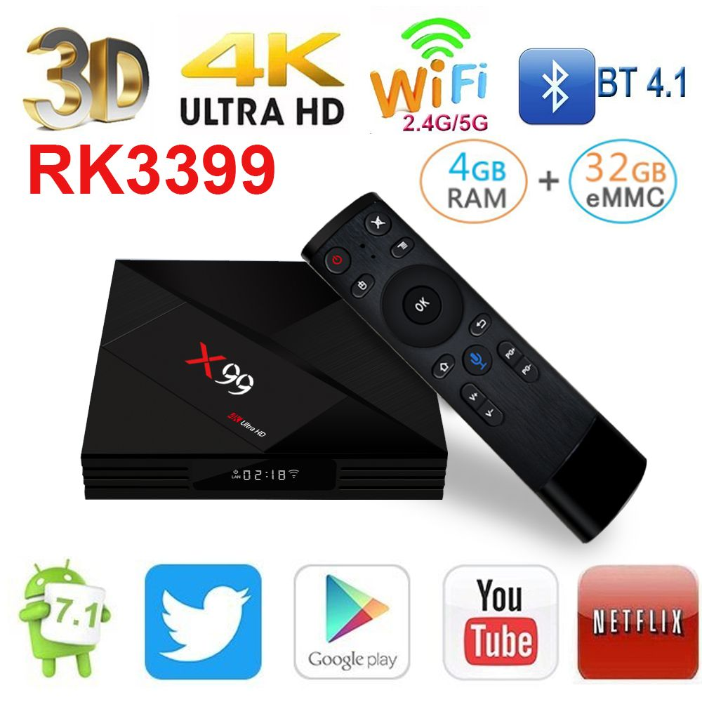 Fuloophi 2018 Latest X99 Android 7.1 TV BOX RK3399 4GB RAM 32GB ROM With Voice remote 5G WiFi Super 4K OTT Smart Set TOP BOX