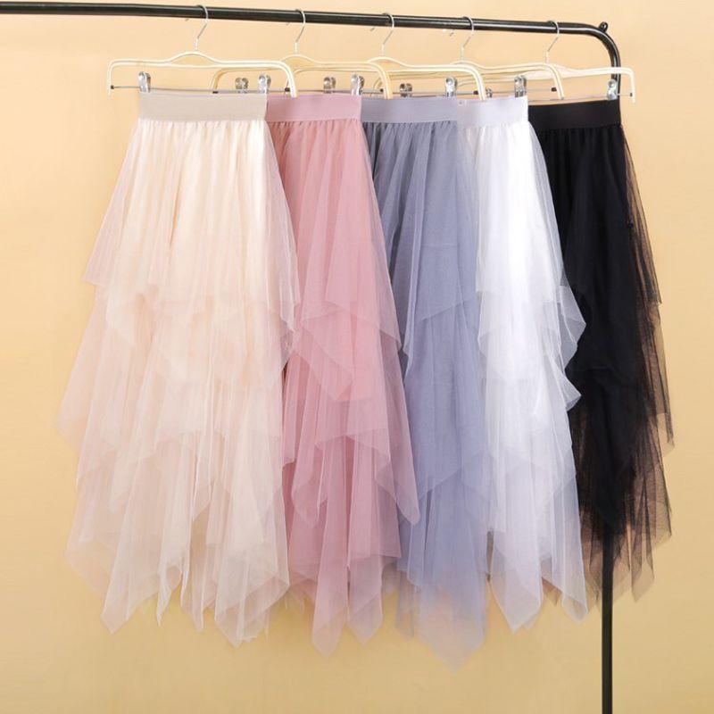 Femmes irrégulière Tulle jupes mode élastique taille haute maille Tutu Jupe plissée longue jupes Midi Jupe Saias Faldas Jupe Femmle