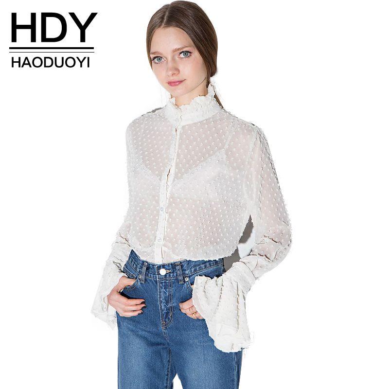 HDY Haoduoyi Femmes D'été Sexy Dentelle Évider Sheer Flare Manches Boutons Blouses Chemises Casual Solide Femme Fille pour la vente en gros