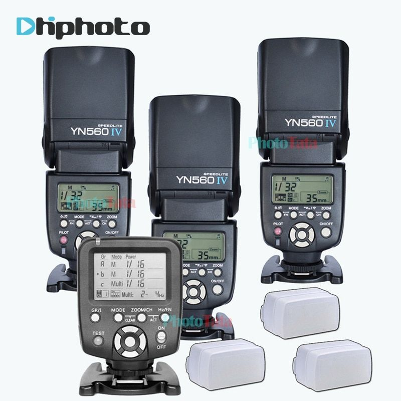 3x Wireless Speedlite Flash Yongnuo YN560 IV +YN560TX Flash Controller For Canon Nikon with free 3 Flash Diffuser Box