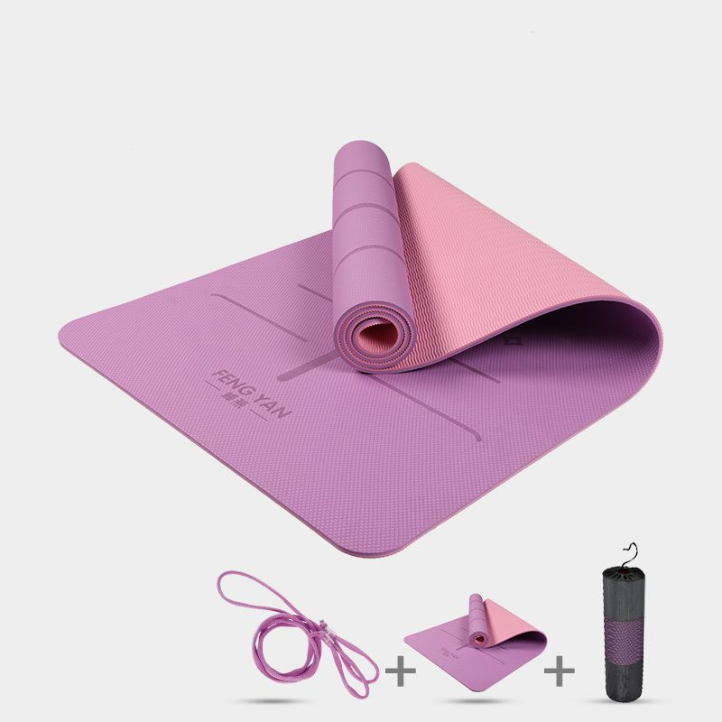 Heathyoga Eco Friendly Non Slip Yoga Mat, Body Alignment System, SGS Certified TPE Material - Textured Non Slip Surface