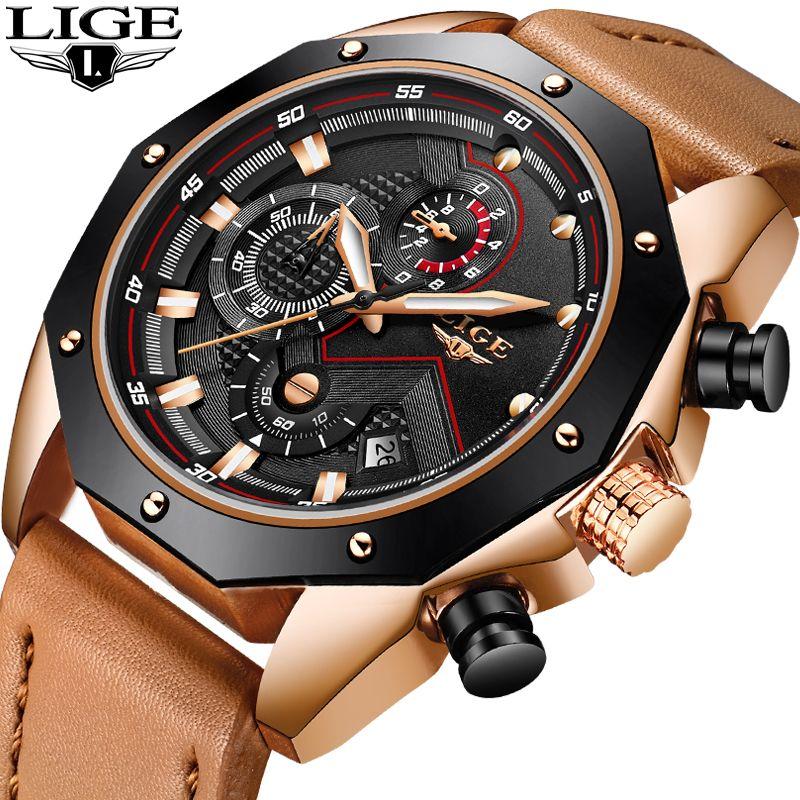 Relogio Masculino LIGE Herren Uhren Top Brand Luxus Leder Quarzuhr Gold Männer Mode Militär Wasserdicht Sport Armbanduhr