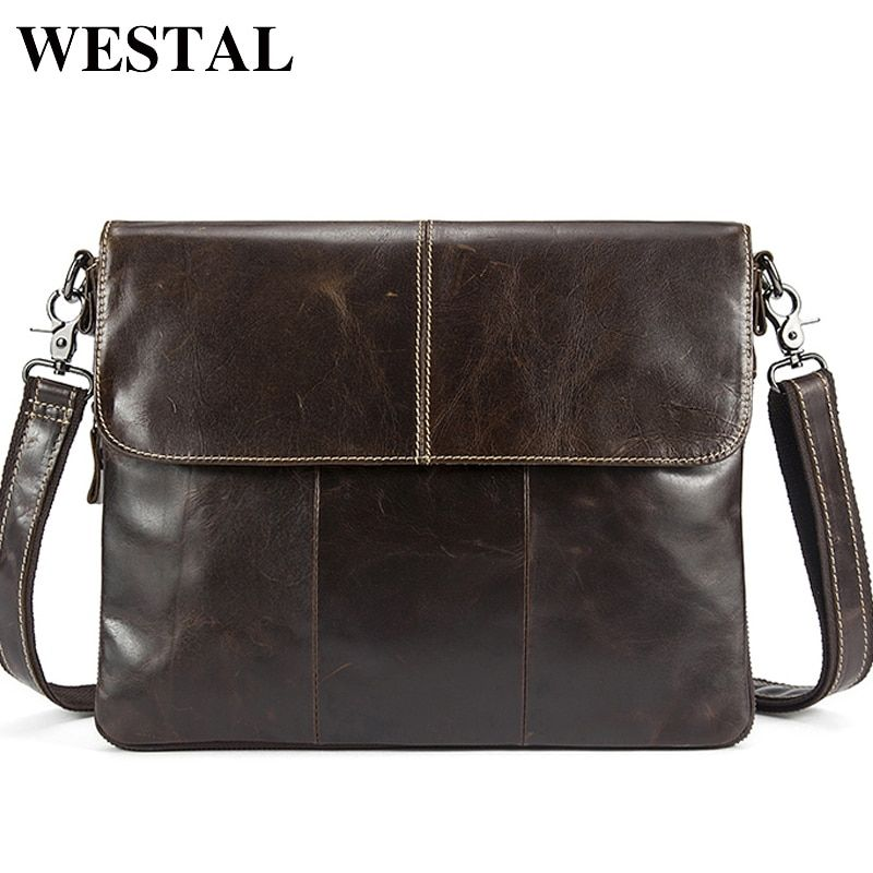 WESTEL Messenger Bag Men Genuine Leather Men's shoulder bags male Casual Zipper Crossbody Bags clutch bag for men handbags 8007