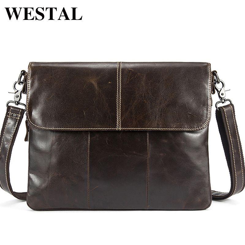 WESTEL Messenger Bag Men Genuine Leather Men's shoulder bags male Casual Zipper Crossbody Bags <font><b>clutch</b></font> bag for men handbags 8007
