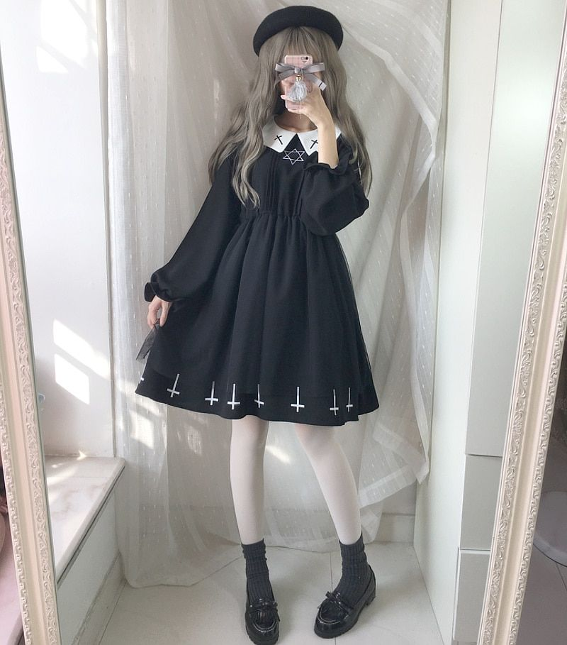 2018 Japonais Sœur Doux Preppy Style Harajuku Foncé Fille Noir Robe JK Uniforme Broderie Avec Peter Pan Col Femmes Robe