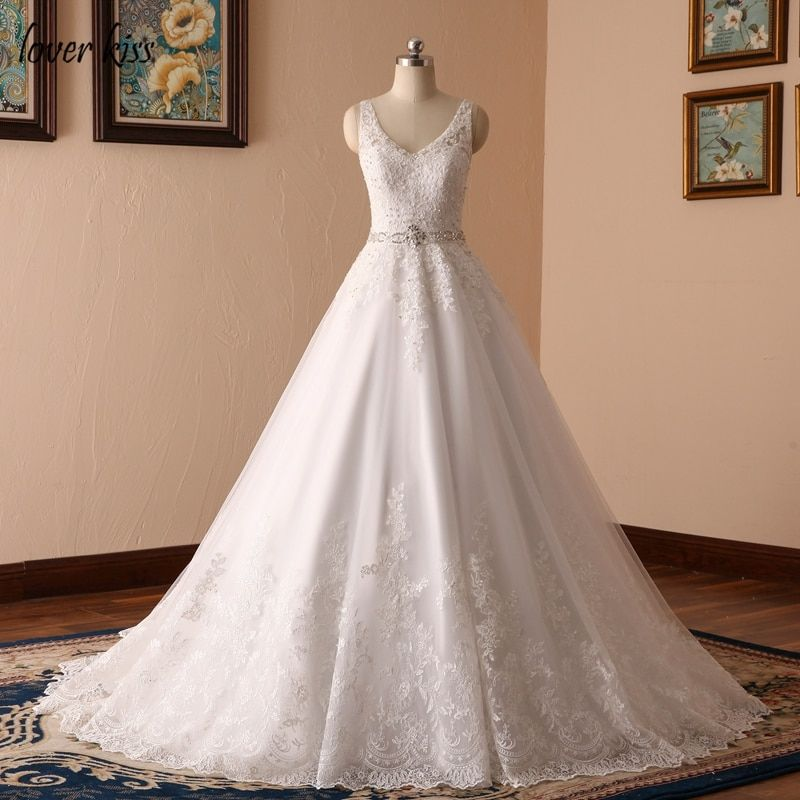 Lover Kiss Vestido De Noiva New Design A Line Lace Wedding Dress V Neck Beaded Sash Backless Sexy Vintage Gowns Wedding Dress