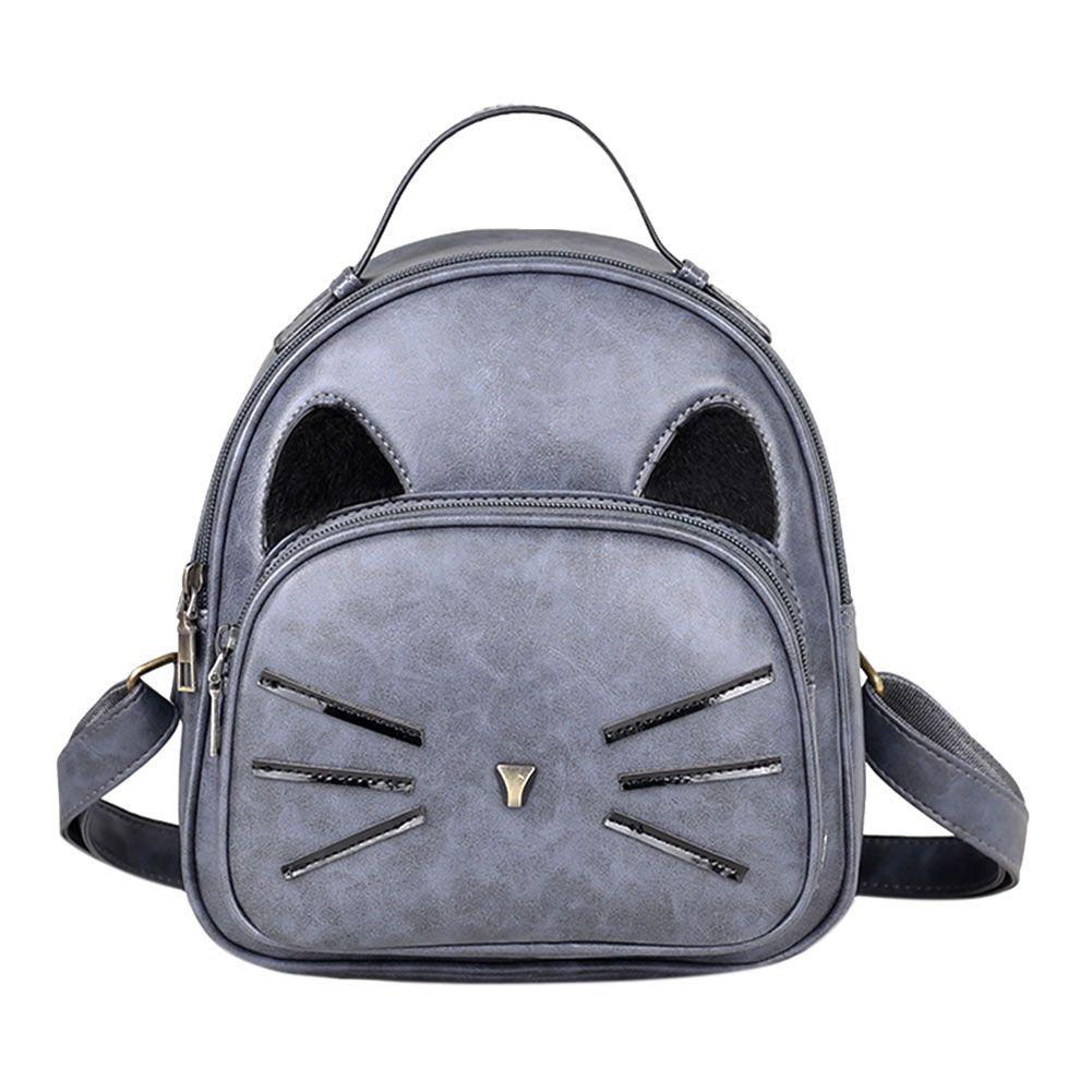 С милым рисунком кота Для женщин рюкзак искусственная кожа рюкзак с принтом кота рюкзак Школьные ранцы для подростков Обувь для девочек неб...