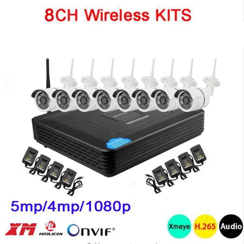 5mp/4mp/1080 p Sechs Array Infrarot ICsee APP Wasserdichte Audio H.265 + 25fps 8CH 8 Kanal WIFI wireless IP Kamera kits Kostenloser Versand