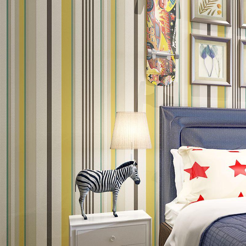 Black White Gray Vertical Striped Wallpaper Non-woven Flocking Bedroom Living Room Decor Wallpaper Roll Papel De Parede Listrado