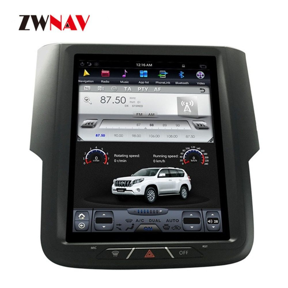 ZWNVA Tesla IPS Screen Android 7.1 Car GPS Navigation Radio For Dodge RAM 2014 2015 2016 2017 No CD Player GPS System Audio