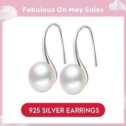 LicLiz Pure 925 Sterling Silver Earrings Drop Women Round Natural Freshwater Pearl Hook Dangle Earring Ear Drops Brincos LAE0009