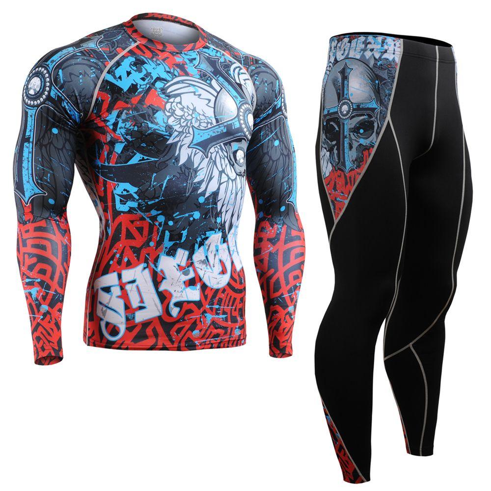 Men Compression Shirts Pants Cycling Base Layers Skin-Tight Gym Training Running Workout Fitness Yoga Clothing Set CFL/P2L-B73