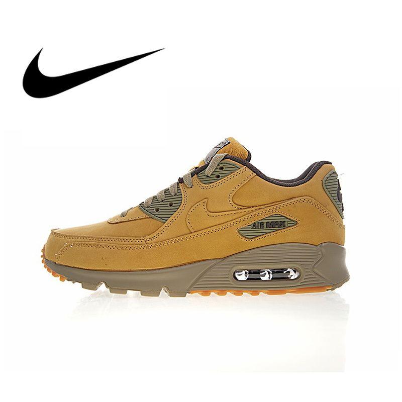 Original Neue Ankunft Authentic Nike Air Max 90 Premium männer Laufschuhe Sport Outdoor Turnschuhe Winter Flachs 683282- 700