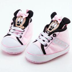 Mignon Marque Bébé Sneakers Rose Minnie Neonata Bottes Nouveau-Né Chaussure Bleu Mickey Garçon Casual Chaussons Zapatos Bebe Fille Bébé Chaussures