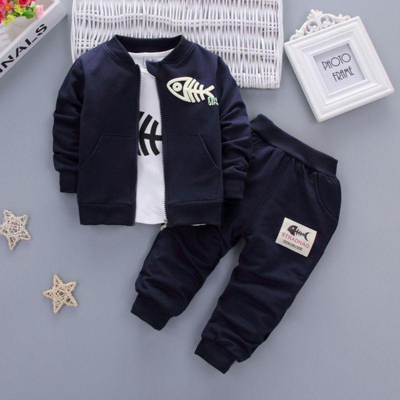 2019 nouveau mode coton bébé garçon vêtements rouge bleu marine gris Minion manteau T-Shirt pantalon 3 pièces enfants ensemble bébé fille bébé costumes