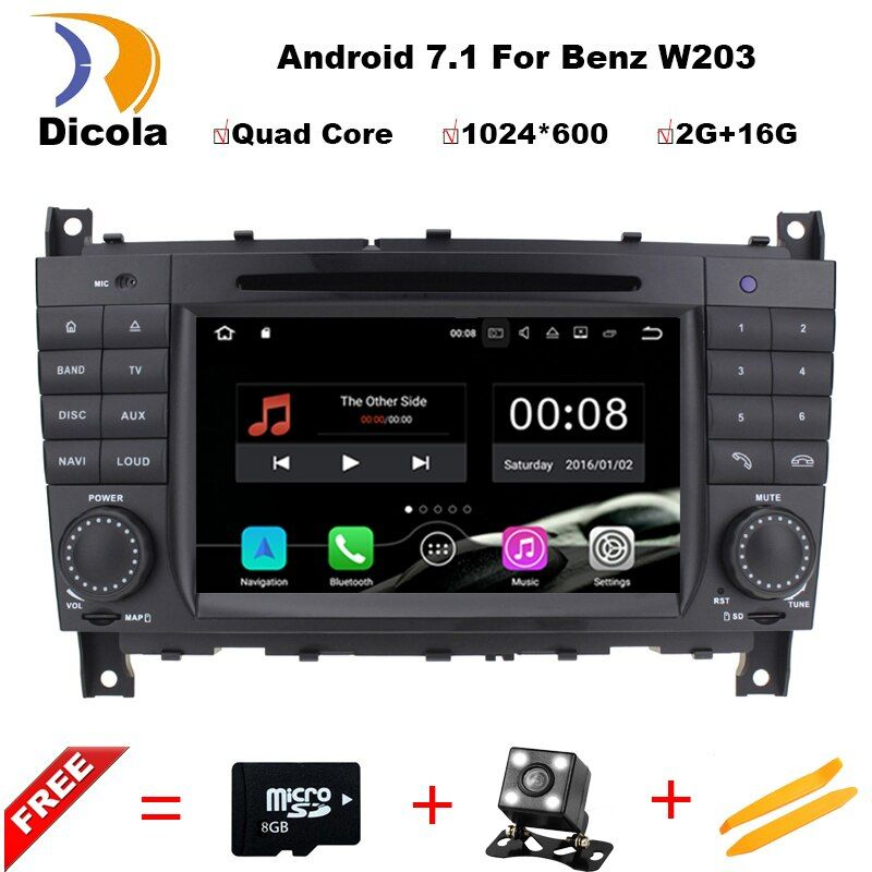 1024X600 Quad Core Android 7.11 Car DVD for Mercedes Benz C Class W203 C200 C230 C320 CLK 200 CLK350 CLK500 GPS Radio Stereo BT