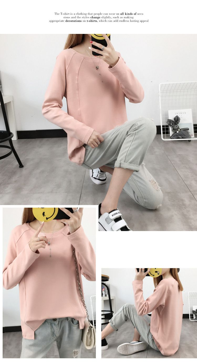 2018 loose long cotton, long sleeves, pure color, autumn and winter thickening, long sleeves and small sweaters in the top