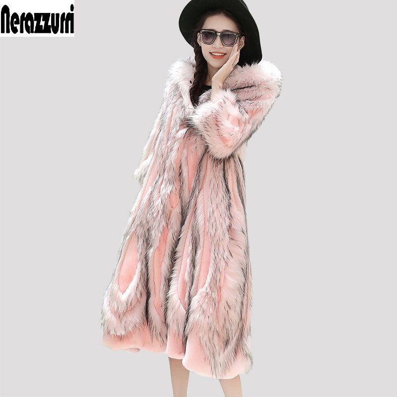 Nerazzurri Winter Faux Pelz Mantel Mit Kapuze Rosa Pelzigen Flauschigen Farbige Gefälschte Pelz Mantel Plus Größe Patchwork Pelz Outwear 5XL 6XL