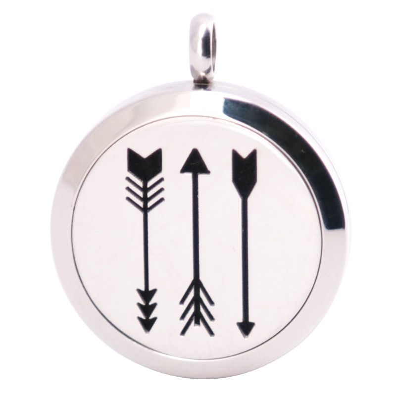 10pcs New Arrow Aromatherapy Essential Oil Surgical Stainless Steel Pendant Necklace Perfume Diffuser Locket with Felt Pdas