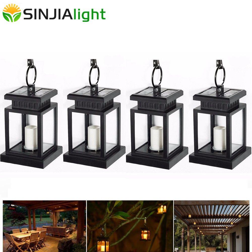 4 pièces 2 pièces lumière solaire extérieure bougie lanterne lampe solaire LED ampoule cour chemin gouttière jardin parapluie accrocher lumières lampe à LED éclairage