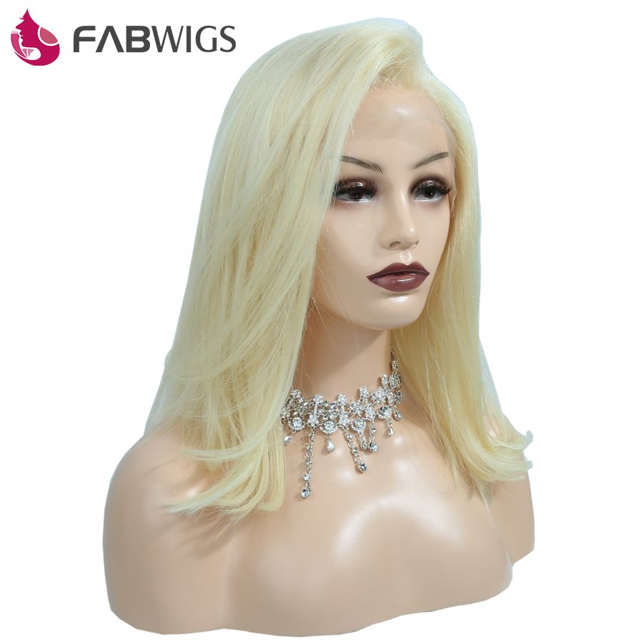 Fabwigs 180% Density Lace Front Human Hair Wig with Baby Hair #613 Blonde Short Bob Human Hair Wigs European Remy Hair