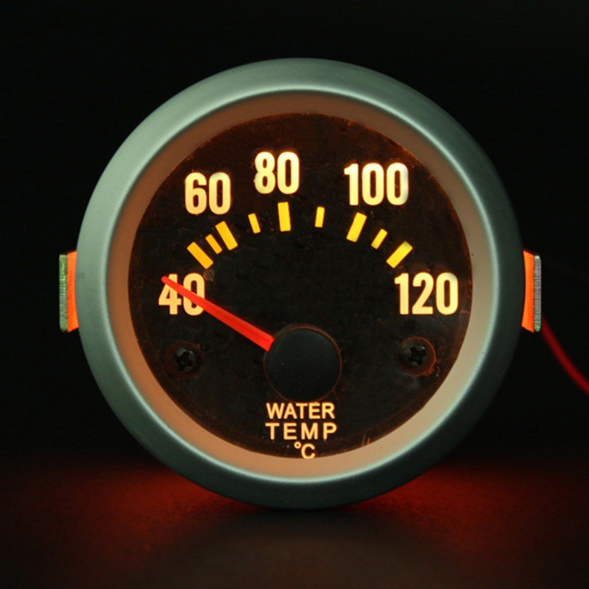 2 Inch 52mm Water Temp Gauge With Carbon Fiber Face Yellow LED Temperature Celsius